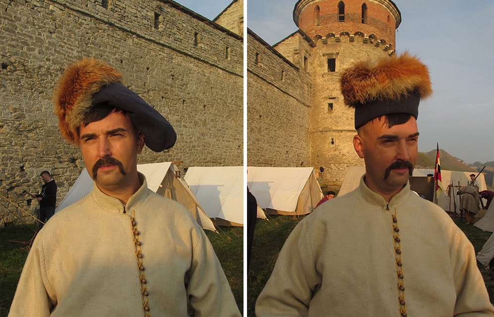 Photos by Sergei Shamenkov, illustrating two ways of wearing hats. In the photos Taras Timchak - reconstructor from Lviv