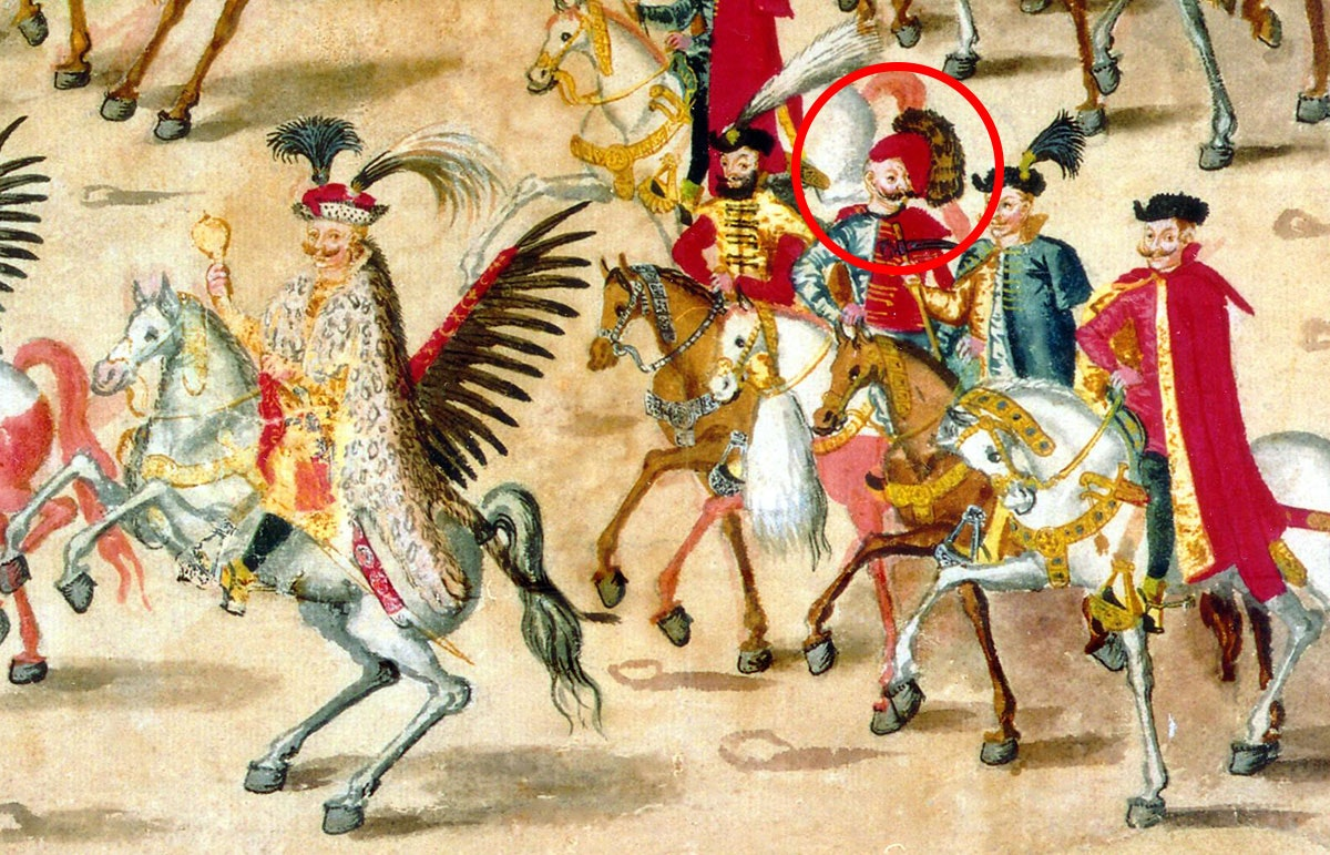 A fragment of the Stockholm Scroll, 1605. The red circle is marked by a rider whose head is laid on his head