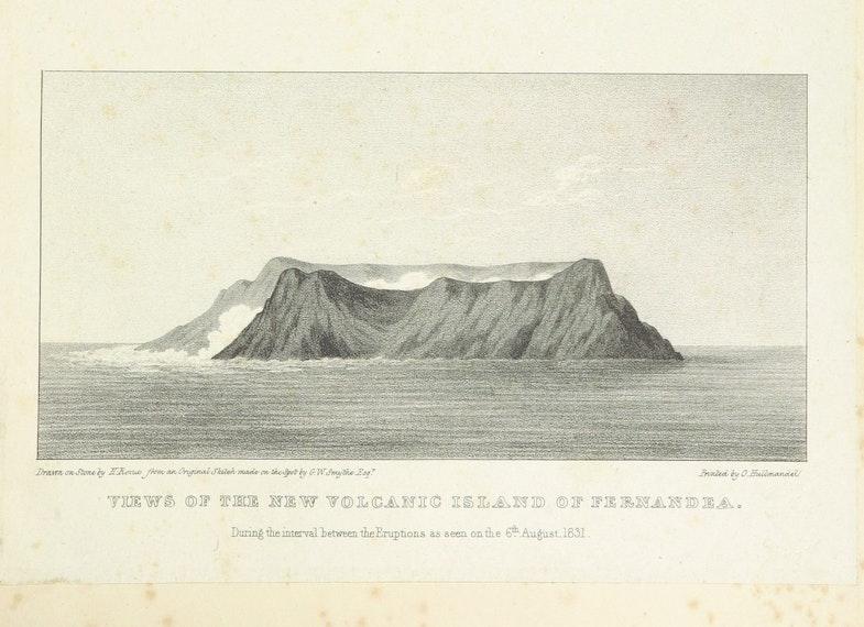 Vidyi vulkanicheskogo ostrova u poberezhya Sitsilii