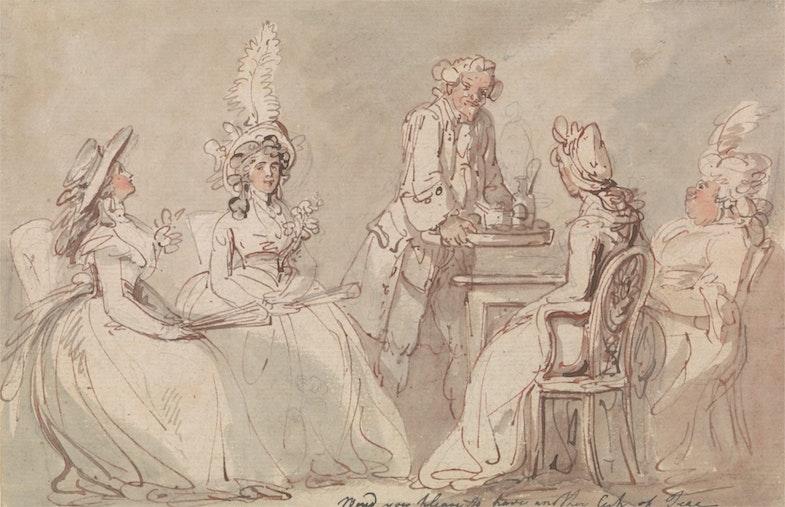 Дамы за чаепитием. Англия. Примерно 1790 г.
