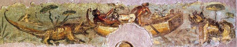 Seks mezhdu tremya lyudmi na lodke, v okruzhenii dikih zhivotnyih. Freska, Pompei.