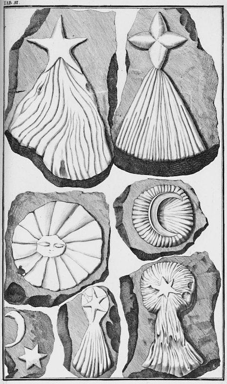 Litograficheskoe izobrazhenie «kamney Beringera», 1726 g.