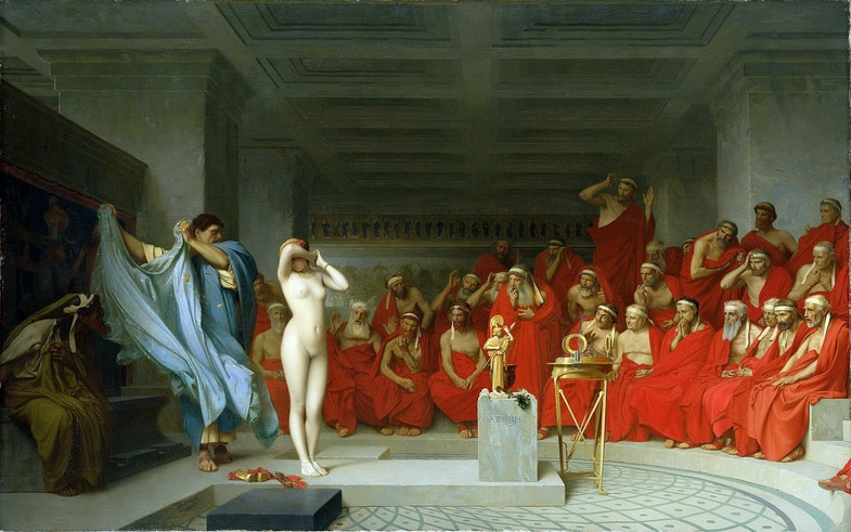 «Getera Frina pered areopagom», Kartina Zh.-L. Zheroma, 1861, Kunsthalle, Gamburg