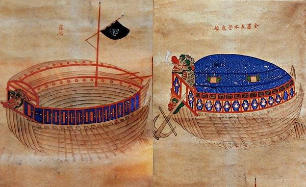 Tsvetnoe izobrazhenie odnopalubnogo kobuksona «I Chhunmu-gon chonso»