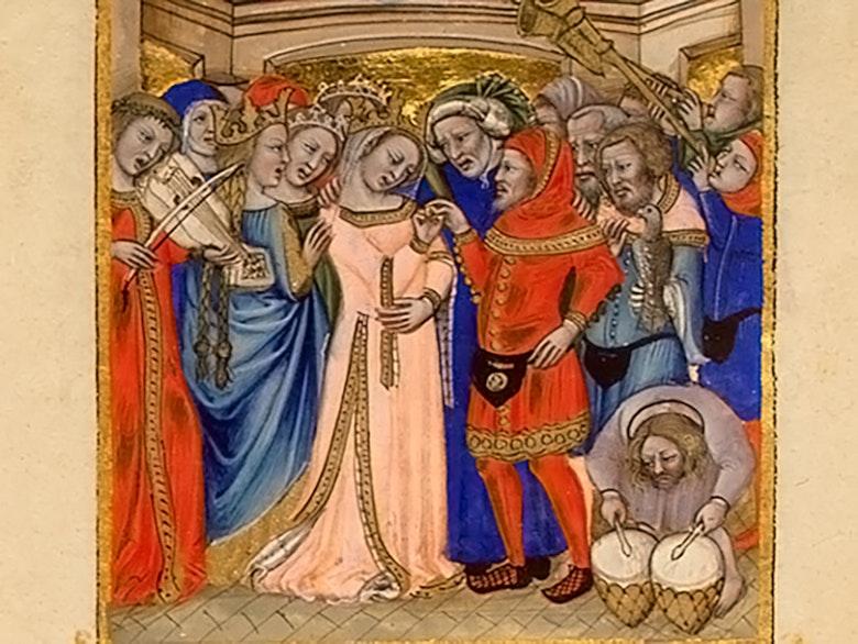 Nikkolo da Bolonya, «Brak», 1350-e godyi, miniatyura na pergamente