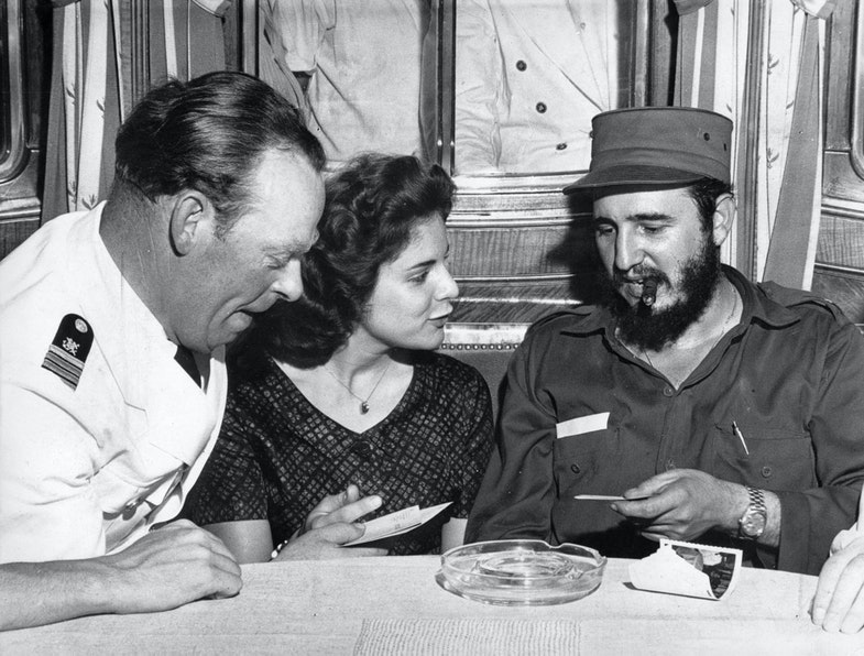 First Officer Ernst Hankiewicz, captains's daughter Marita Lorenz and Fidel Castro