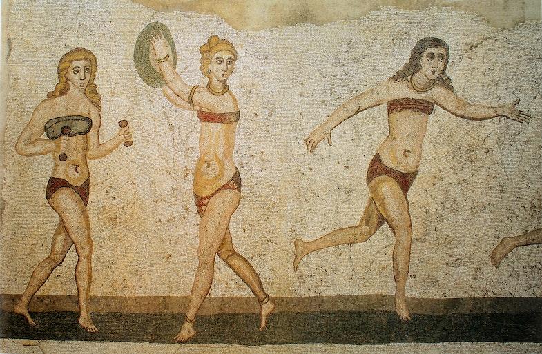 Mozaika villyi del Kazale, postroennoy v 4 veka n. e. Sitsiliya