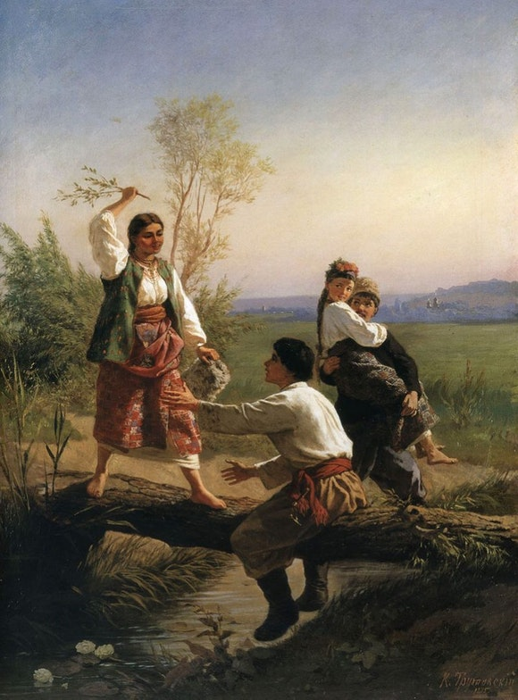 Konstantin Trutovsky Through the River