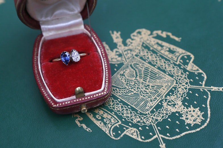A diamond and sapphire engagement ring given in 1796 by Napoleon Bonaparte to Josephine de Beauharnais