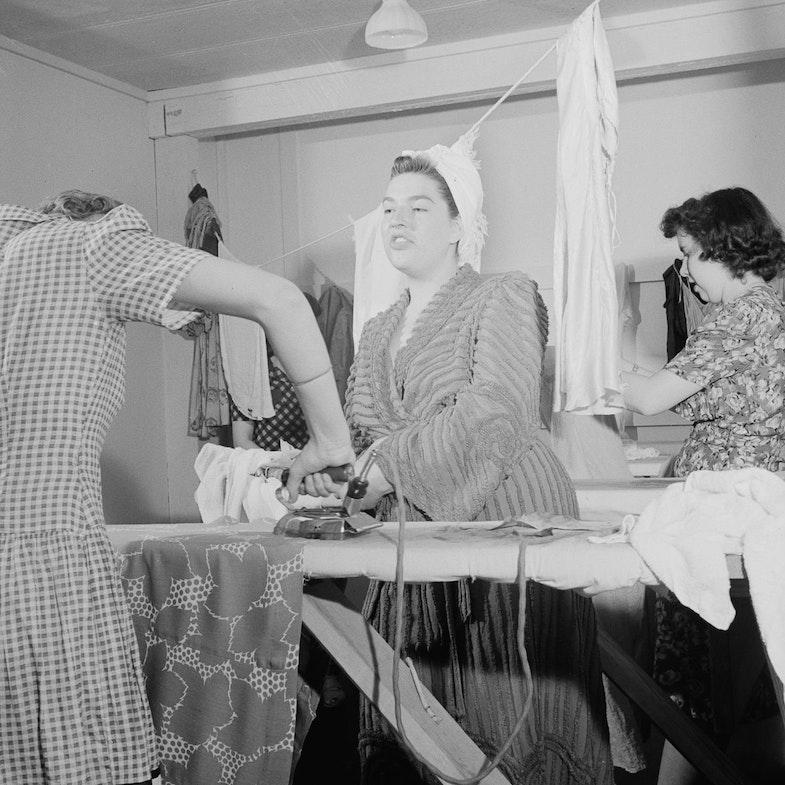 Arlington Farms, war duration residence halls. Laundry room in Idaho Halls, Arlington Farms