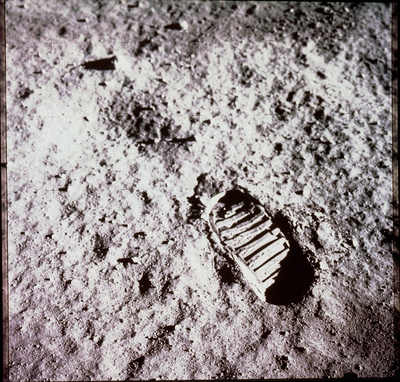 Apollo 11 astronaut Edwin Aldrin photographed this footprint in the lunar soil as part of an experiment to study the nature of lunar dust and the effects of pressure on the surface