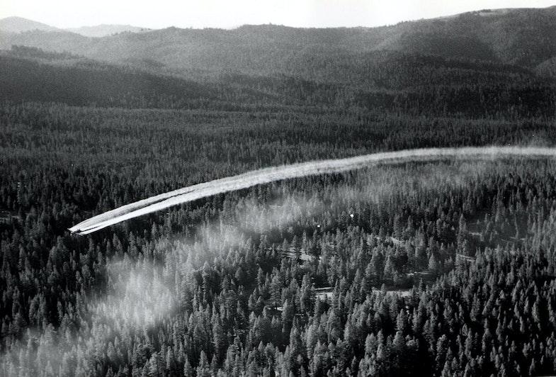 1955. Fort tri-motor spraying DDT. Western spruce budworm control project. Powder River control unit, OR