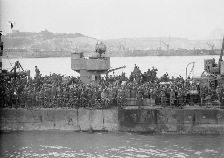 British troops crowd the deck of a Royal Navy destroyer at Dover, 31 May 1940.