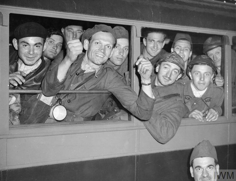 French troops evacuated from Dunkirk photographed in a train at a railway station in the UK