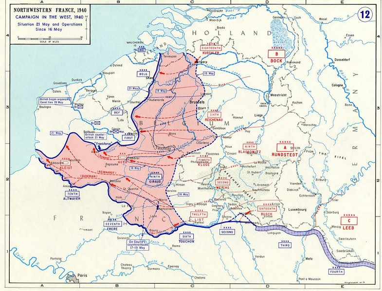 The German advance to the English Channel between 16 May and 21 May of 1940.