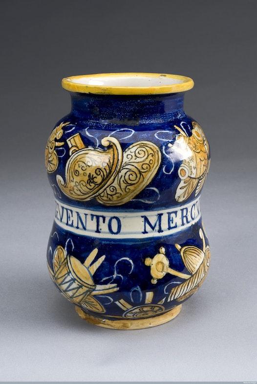 Albarello pharmacy jar for mercury ointment, Italy