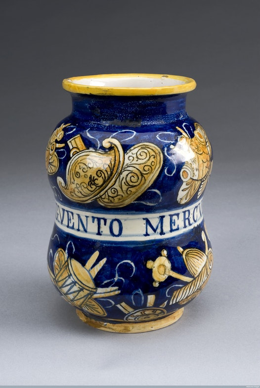 Albarello pharmacy jar for mercury ointment, Italy