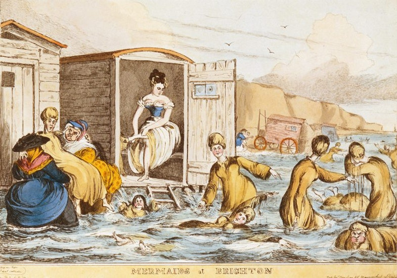 Mermaids at Brighton by William Heath 1829. Depicts women sea-bathing with bathing machines at Brighton