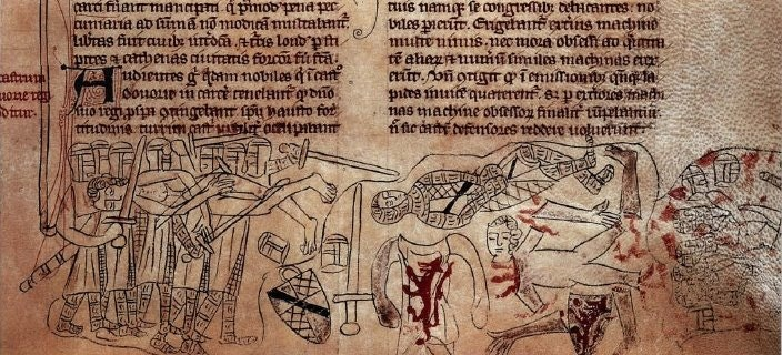 Death and mutilation of Simon de Montfort at the Battle of Evesham