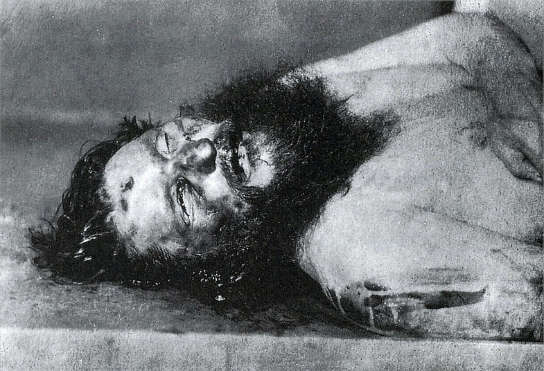 Rasputin's body photo in the morgue