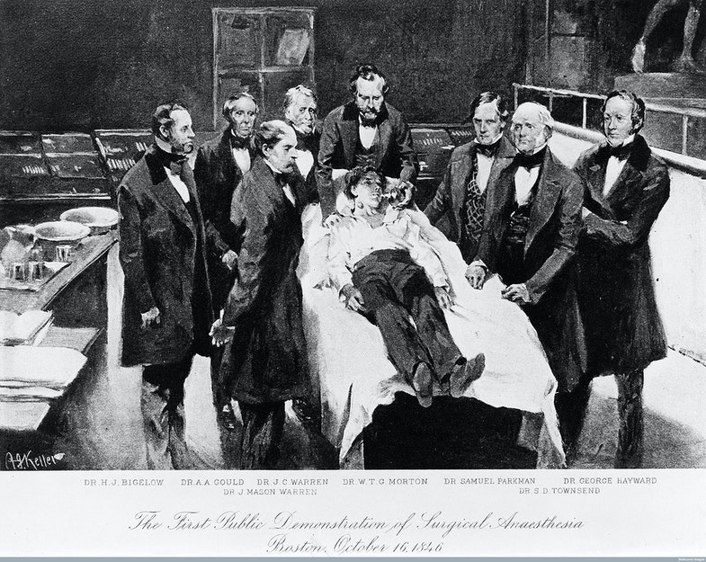 First demonstration of surgical anaesthesia
