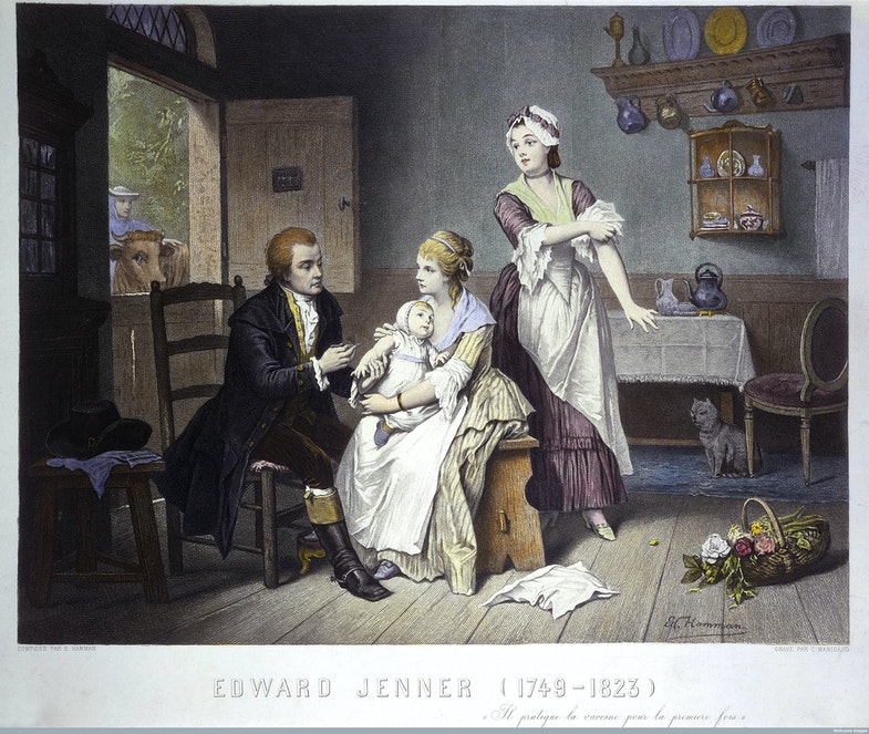 dward Jenner, vaccinating his young child, held by Mrs Jenn