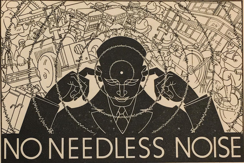 Logo of the Anti-Noise League as featured in Noise Abatement Exhibition: Science Museum, South Kensington, 31st May-30th June 1935