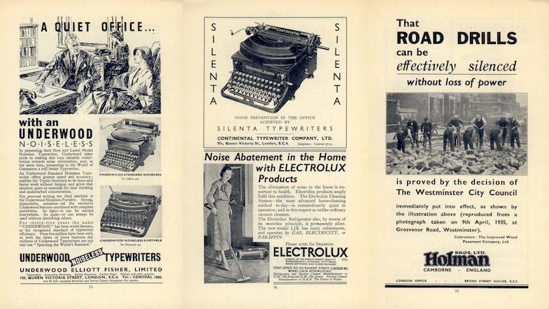 Advertisement featured in Noise Abatement Exhibition