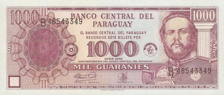 Paraguay 1000 Guarani Francisco Solano Lopez