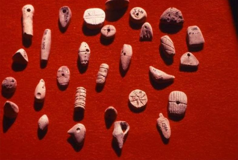 Tokens from Uruk, Iraq, ca. 3300 BC
