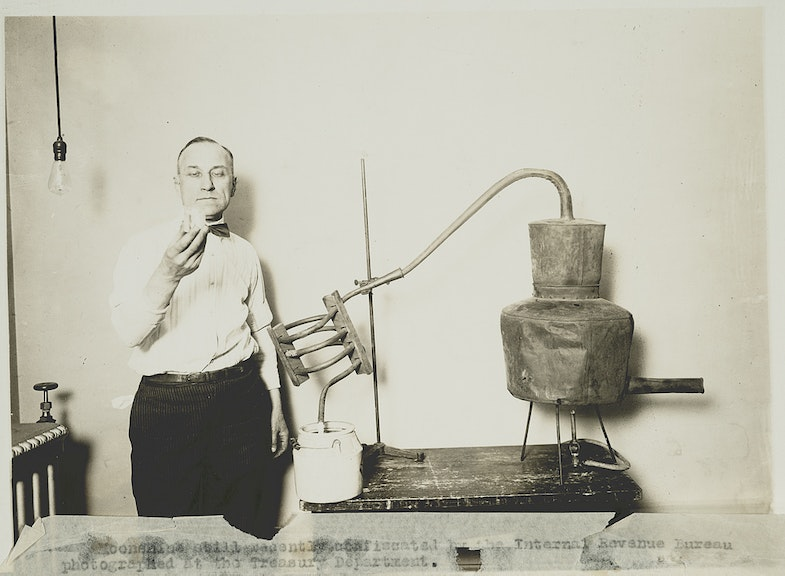 Moonshine still recently confiscated by the Internal Revenue Bureau photographed at the Treasury Department