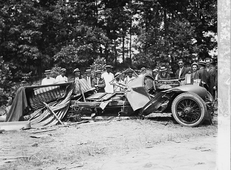 Wreck of Stutz car with bootleggers
