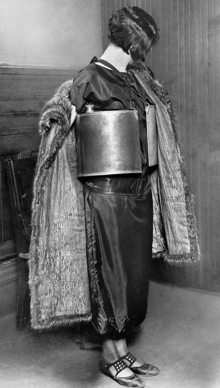 "Jennie MacGregor, scooped up by the Minneapolis police on April 10, 1924 for ""dispensing wet goods"" from her bootlegger's life preserver"