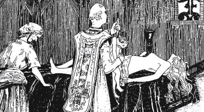 Catherine Monvoisin and the priest Étienne Guibourg are shown performing a black mass for Madame de Montespan (lying on the altar) in an 1895 engraving by Henry de Malvost