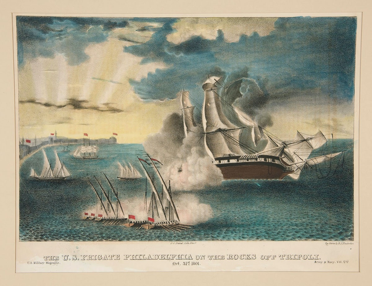 Barbary pirate ships swarm USS PHILADELPHIA