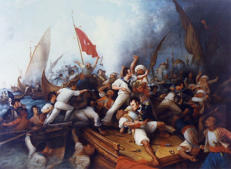 Stephen Decatur boarding a Tripolitan gunboat during a naval engagement, 3 August 1804