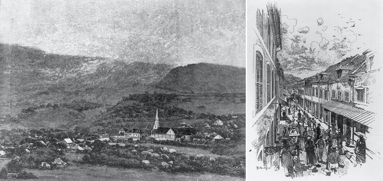 Scenes of St. Pierre, Martinique, before the 1902 eruption of Mount Pelee