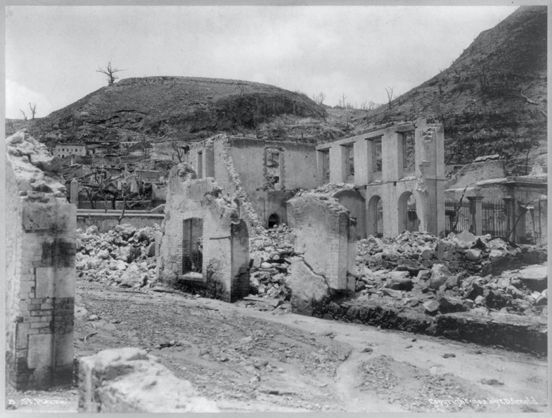 Martinique - St. Pierre - devastated buildings after the volcanic eruption of Mt. Pelee