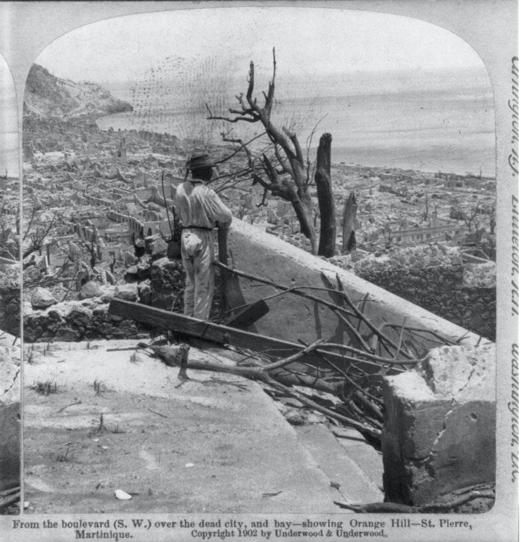 After the volcanic eruption of Mount Pelée, Martinique