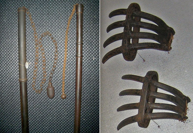 Japanese chigriki, chain and weight weapons, one with a solid iron staff and one with a wood and iron staff