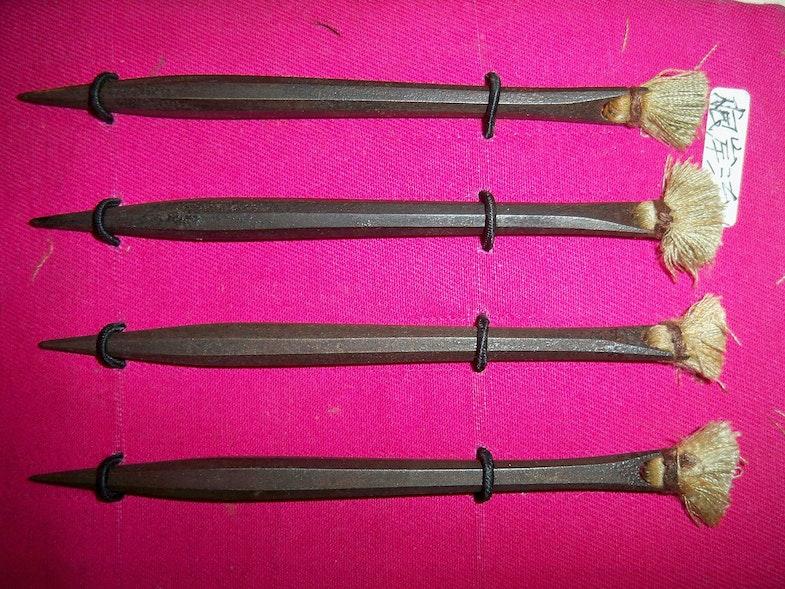4 antique forged Japanese bo shuriken. Iron throwing darts Bo shuriken with linen flights