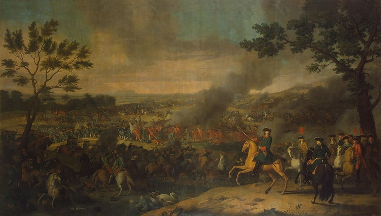 Battle of Poltava in 1709. Tsar Peter I of Russia is shown on a horse. State Hermitage, S.-Peterburg, Russia
