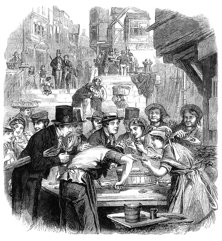 The first day of oysters: a London street scene