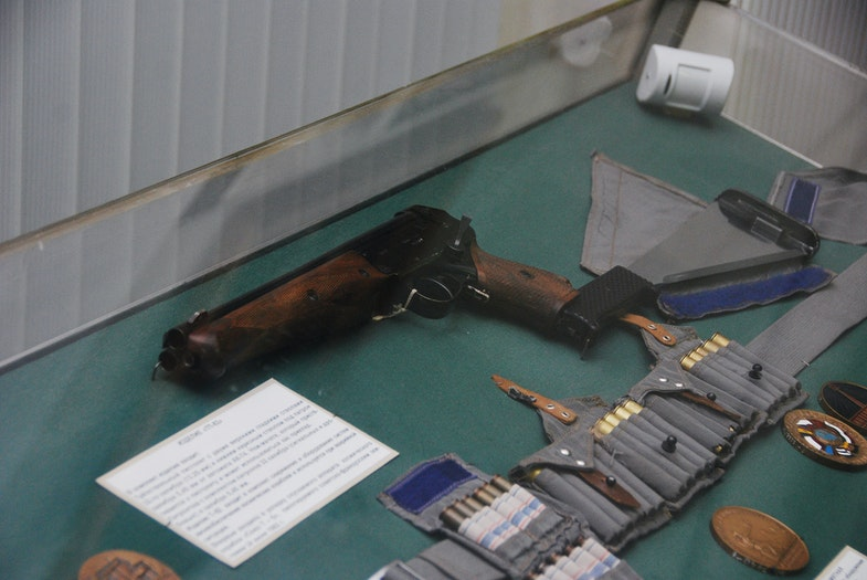 Triple-barreled TP-82 pistol in Saint-Petersburg Artillery museum