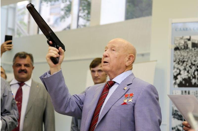Alexey Leonov with triple-barreled TP-82 pistol