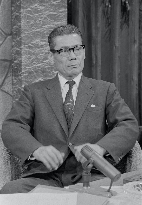 Takeo Yoshikawa, former Japanese spy attached to the Japanese Consular House, in Honolulu, before and during WWII, appears on a TV programme in Tokyo, Japan, on Dec.5, 1964. Yoshikawa was involved in passing information concerning the Japanese attack on Pearl Harbour