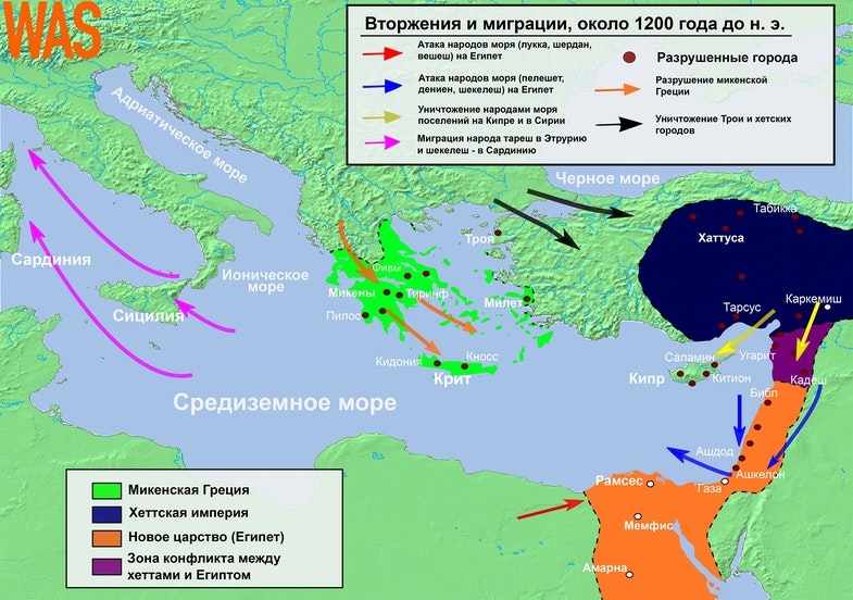 Invasions, destructions and possible population movements during the Bronze Age Collapse,