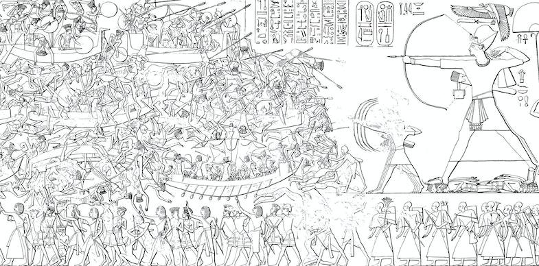 Medinet Habu Ramses III. Tempel Nordostwand Abzeichnung