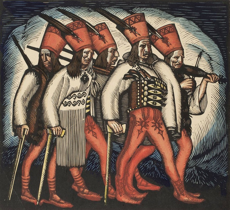 March of the Oprichki color engraving by Vladislav Skochilas 1916