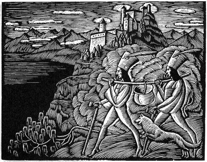 Highwaymen with cauldron, wood engraving, Muzeum Żup Krakowskich w Wieliczce